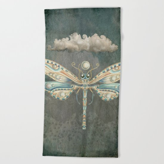 Dragonfly of the moon Beach Towel