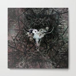Gothic Floral Longhorn Skull Metal Print