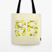 pugs Tote Bags featuring Pugs Prank by Huebucket