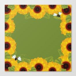 Sunflowers & Bee Canvas Print