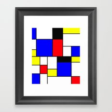 Red Blue Yellow Geometric Squares Framed Art Print