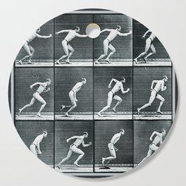 Time Lapse Motion Study Man Running Monochrome Cutting Board