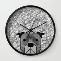 pit bull Wall Clocks featuring Pit Bull by lllg
