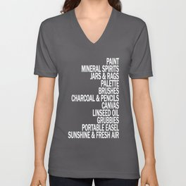 What a Plein Air Oil Painter Needs for a Perfect Day... Unisex V-Neck