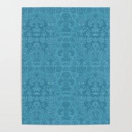 Blue Agate Damask Poster