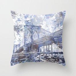 Brooklyn Bridge New York USA Watercolor blue Illustration Throw Pillow