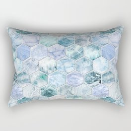 Ice Blue and Jade Stone and Marble Hexagon Tiles Rectangular Pillow