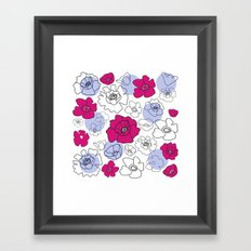 Poppies Pink & Blue Framed Art Print