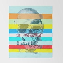 Striped Glitch Skull Throw Blanket