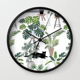 cats in the interior pattern Wall Clock