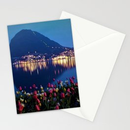 Tulips at Twilight, Lake Lugano, Switzerland Portrait by Jeanpaul Ferro Stationery Cards