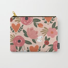 Seamless Pink Pastel Floral Pattern Salmon Red Orange Carry-All Pouch