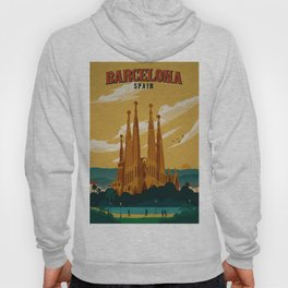 Vintage Barcelona, Spain Travel Lithographic Poster Advertisement Hoody