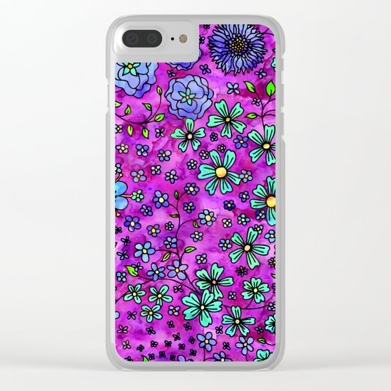 Blue Small Flowers Clear iPhone Case