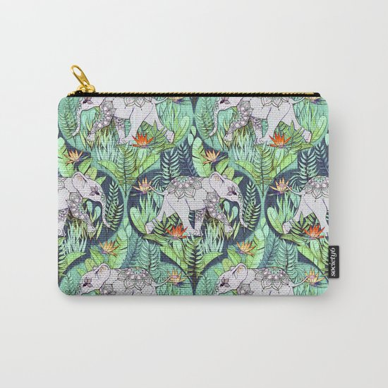 Little Elephant on a Jungle Adventure - faded vintage version Carry-All Pouch