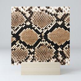 Pastel brown black white snakeskin animal pattern Mini Art Print