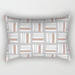 Stripes×Checkered Pattern_Gray&Orange Rectangular Pillow