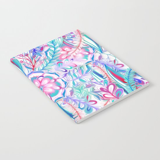 Boho Flower Burst in Pink and Teal Notebook