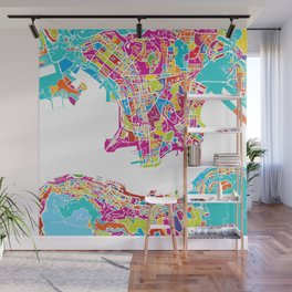 Hong Kong Colorful Map Wall Mural