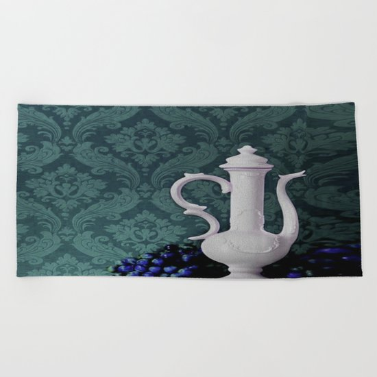 Decanter and Grapes Beach Towel