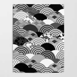 Nature background with japanese sakura flower, Cherry, wave circle Black gray white colors Poster