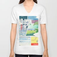 banana V-neck T-shirts featuring Banana by itoshige