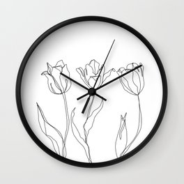 Botanical illustration line drawing - Three Tulips Wall Clock