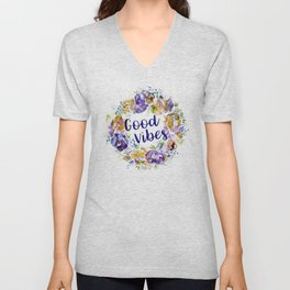 Good Vibes - Floral wreath watercolor Unisex V-Neck
