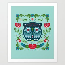 Merry & Bright Owl | Christmas Blue Art Print