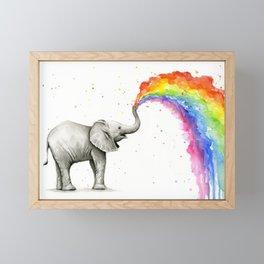 Rainbow Baby Elephant Framed Mini Art Print
