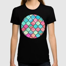 Watercolor Moroccan Patchwork in Magenta, Peach & Aqua T-shirt