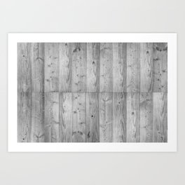 Wood Planks in black and white Art Print