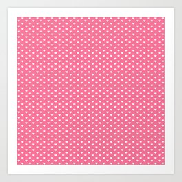 Little Hearts White on Pink Art Print