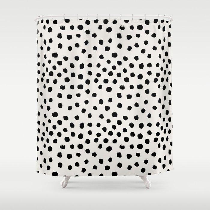 Preppy brushstroke free polka dots black and white spots dots dalmation animal spots design minimal Duschvorhang