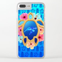 Hawaiian Swimming Turtle And Tiki Masks Clear iPhone Case