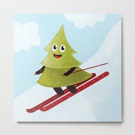 Happy Pine Tree on Ski Metal Print