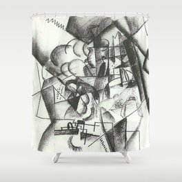August Macke Cubist Division of Space with Figures Shower Curtain