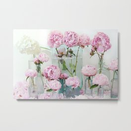 Peonies Cottage Aqua Pink Shabby Chic Watercolor Peony Prints Home Decor Metal Print