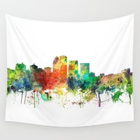 kentucky Wall Tapestries featuring Louisville Kentucky Skyline SP by Marlene Watson
