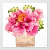 peonies Canvas Prints featuring Peonies  by Xchange Art Studio
