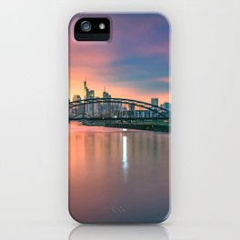 Stunning View From Shoreline On Metroscape At Lovely Sundown Lilac Saturation Ultra High Definition iPhone Case