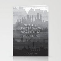 """tolkien Stationery Cards featuring """"Not all those who wander are lost"""" -- J. R. R. Tolkien quote poster by asiawilliams"""