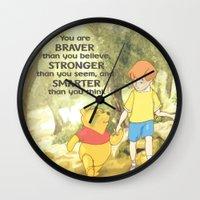 winnie the pooh Wall Clocks featuring WINNIE THE POOH by DisPrints