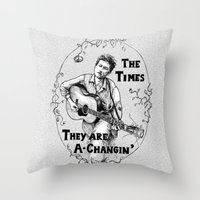 bob dylan Throw Pillows featuring Bob Dylan by Required Animals