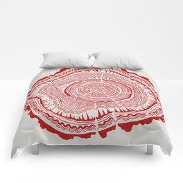 Red Tree Rings Comforters
