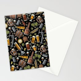 Beer Makes The World Go Round - Black Pattern Stationery Cards