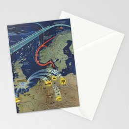 Vintage Map Print - 1944 Chart of World War II in the North Sea Area Stationery Cards
