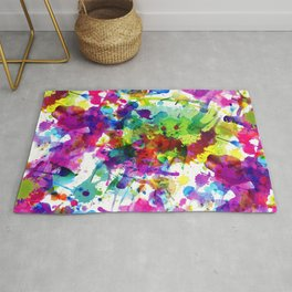 Brightly Colored Paint Splatters Rug