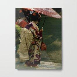 Kyoto Geisha Walk Metal Print