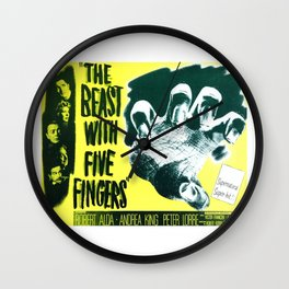 The Beast with five fingers, vintage horror movie poster Wall Clock
